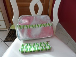 silver and green 2 piece cosmetic bag set  from Clinique  - $7.50