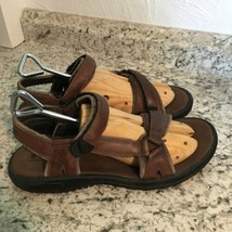 TEVA Mens Tanza Brown Leather Hiking Sport Outdoor Sandals Pre-owned 11 - $49.45