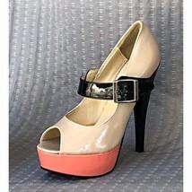 Steve Madden Loraa Black Tan Pink Peep Toe Stiletto Mary Jane Heel Shoes... - $39.34