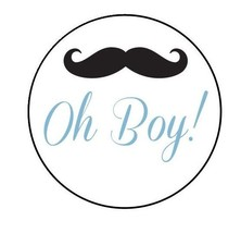 20 Baby Shower Mustache Round Stickers/Labels - Envelopes or Favor Boxes... - $2.00