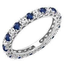 1.50 Ct Round Natural Diamond & Sapphire 14K Gold Eternity Wedding Band ... - €382,21 EUR