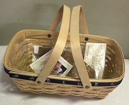 Longaberger U of Michigan Blue and Maize Med Chore Basket w/ Protector/l... - $58.80