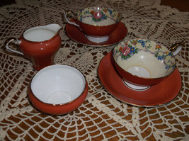 Vintage Ansley Rose Tea Cups with Sugar and Creamer Sale - $50.00