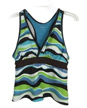 Free Country Womens Swimsuit Size L Large 12-14 Brown Blue Tank Padded R... - $11.55