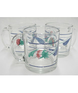 Lenox Poppies on Blue Lot of 3 Clear Glassware Mugs w Lower Band Made in... - $29.69