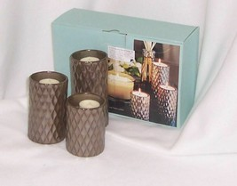 PartyLite Signature Elevated Tealight Trio Metalic Finish Ceramic P99002 - $17.77