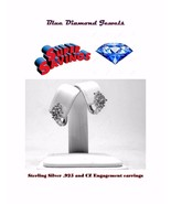 CZ  and Silver Plate Huggie Engagement Earrings 3.00cts CHEAP! - $5.99
