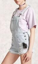 Forever 21 Jeans Vieilli Bleu Jean Combinaison Short Shortalls Patchs 30/L - $24.73