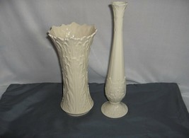 2 Vintage Woodland Bud & Flared Vases Lenox China  MINT - $64.35