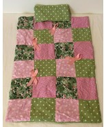 Doll Quilt and Pillow Handmade Quilted Pink Green Breast Cancer Awareness - $17.99