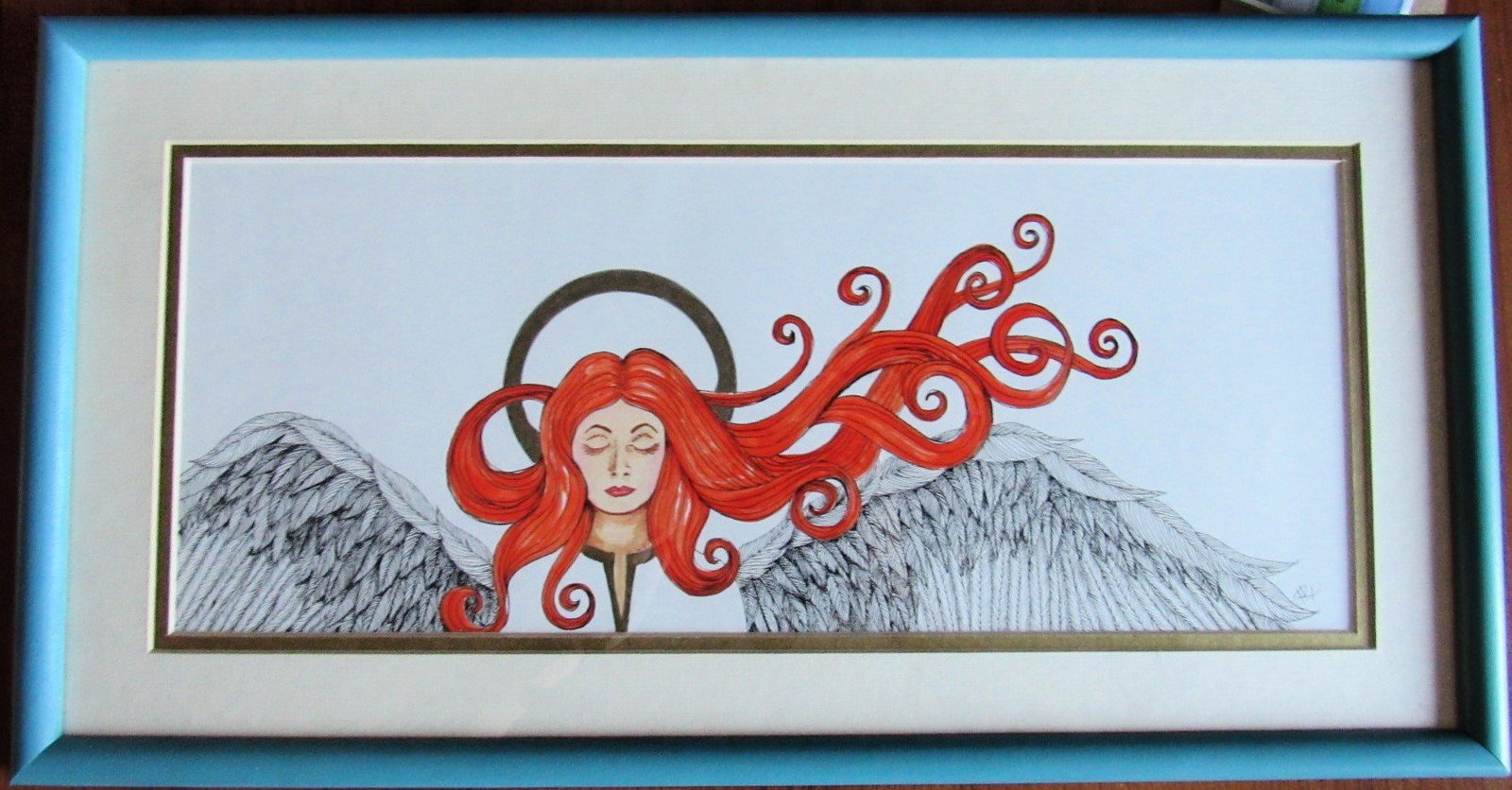Red Hair, Angel, Irish, Original Pen and Ink Art, Framed,  Good Will, Peace,