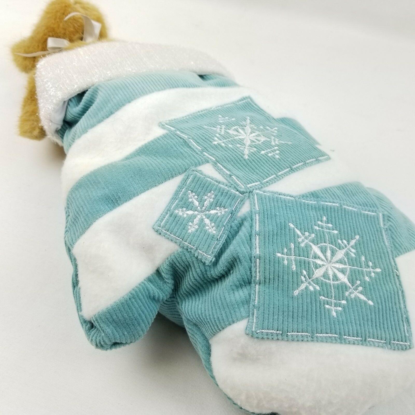 Boyds Teddy Bear In Mitten Glove Christmas Stocking Snowflakes Fallin White Teal