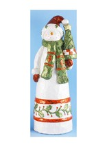 "Don Mechanic 18"" Folk Art Snowman holding a Christmas Tree Table Top Figure - $53.20"