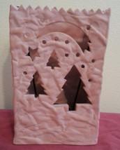 Partylite Terra Cotta Winter Holiday PineTree Moon Luminaria P0398 Retir... - $14.80