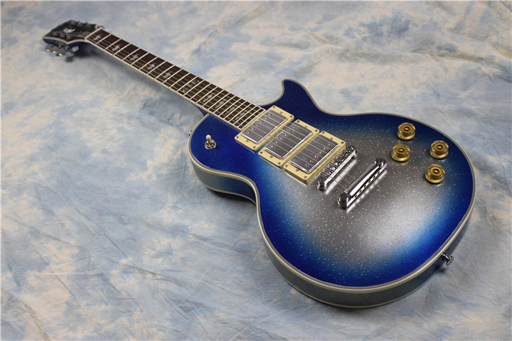 kiss ace frehley signature guitar les paul blue burst silver sparkle 3 pick ups electric. Black Bedroom Furniture Sets. Home Design Ideas