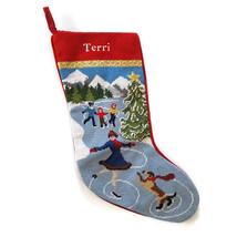 Lands End Needlepoint Christmas Stocking Monogrammed TERRI Ice Skaters New - $23.71