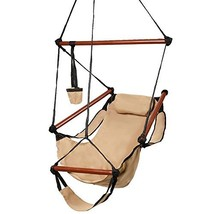 Kuyal Hanging Hammock Chair Deluxe Swing Outdoor Chair W/Pillow and Drin... - $32.14