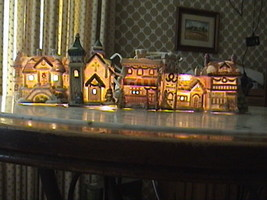 5 Piece Porcelain & Lighted Winter Village Christmas Holiday Centerpiece  - $75.00