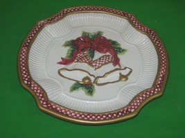 Vintage Fitz and Floyd Essentials Christmas Bells Plate Plaque Gold & Re... - $9.85