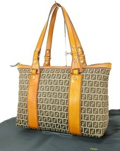 Authentic FENDI Brown Zucca Canvas and Leather Tote Hand Bag Purse #32480 - $349.00
