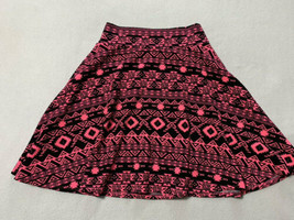 Lularoe Girls 12 Azure Skirt Hot Neon Pink Black Southwestern Geo Stripe - $17.99