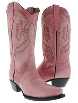 Womens Casual Rose Quartz Classic Western Style Cowboy Boots Plain Leather - $116.99