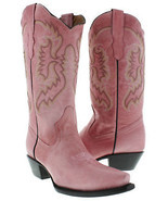 Womens Casual Rose Quartz Classic Western Style Cowboy Boots Plain Leather - £90.58 GBP