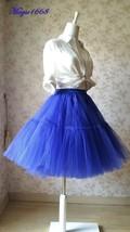 Cobalt Blue Midi Tulle Skirt Blue High Waist Ballerina Skirt Petticoats Plus NWT image 7