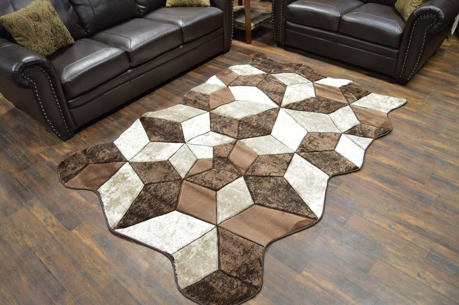 TWIST Free Shape 3D Hand Carved Modern Contemporary 5x8 Rug 4708 Brown - $139.00