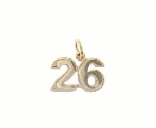 18K YELLOW GOLD NUMBER 26 TWENTY SIX PENDANT CHARM 0.7 INCHES 17 MM MADE ITALY