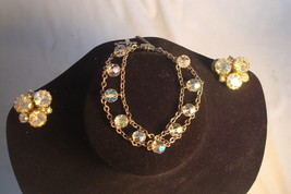 Vntage Borealis Beads Costume Jewelry Sterling Chain Bracelet  Clip Earr... - $25.00