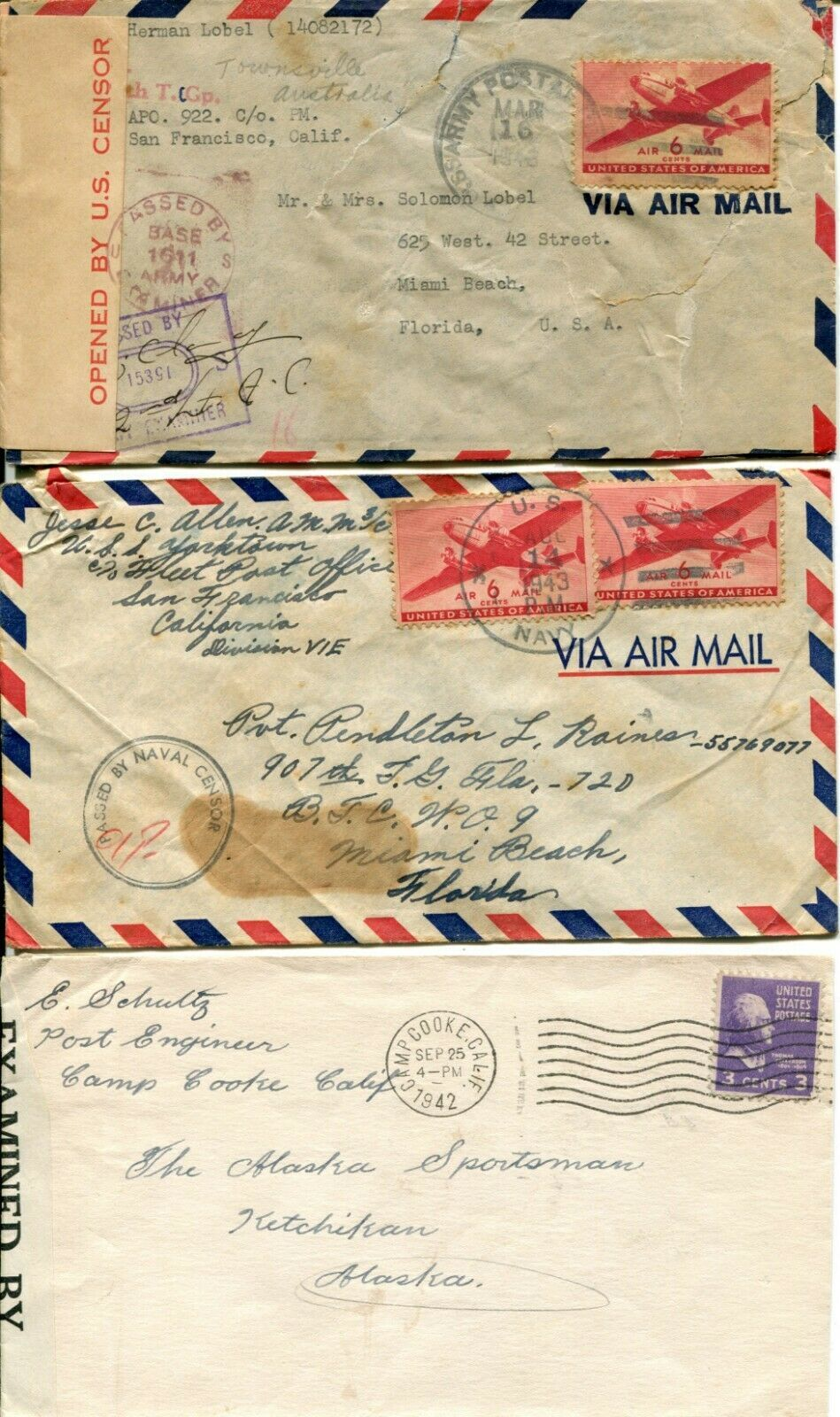 US Army Airmail WWII APO Navy Military Cover Examined Postage Collection  image 7