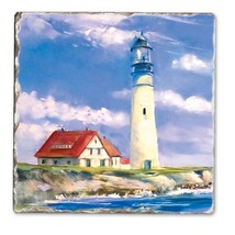 Counter Art Lighthouse Ocean Seashore Absorbent Tumbled Tile Coaster Set... - $17.99