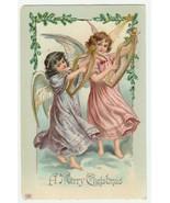 Vintage Postcard Christmas Angel Girls Play Lyres 1911 Gel Card EAS - $9.89