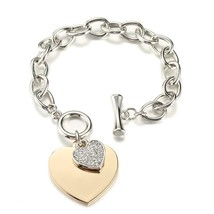 Shefly Love Heart Charm Bracelets For Women Gold Silver Color Bileklik B... - $12.58