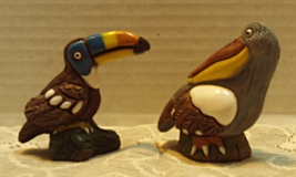 Vintage Folk Art Hand Crafted Clay Bird Figurines Peru Toucan Pelican Birds - $12.00