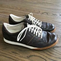 FOSSIL men's brown leather lace up Oxford casual sneakers shoes size 9 - $14.85