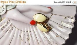 Vintage TRIFARI Gold & Beige Enamel Clip Earrings, Almond Shape, Chunky,... - $10.00