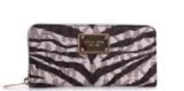 Michael Kors Jet Set Continental Wallet in Vanilla MK Signature Tiger - $185.22