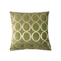 """2 X EMBROIDERED CIRCLE CHENILLE GREEN CREAM 18"""" - 45CM CUSHION COVERS - £10.82 GBP"""