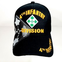 US Army 4th Infantry Division Men's Ball Cap Hat Black Acrylic Embroidered - $12.37