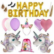 Unicorn Party Supplies Set and Decorations | Birthday Party Banner,18 Ma... - $99.38