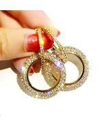 2.00Ct Round Cut Diamond Vintage Hoop Earrings 14K Yellow Gold Finish Ch... - $79.46