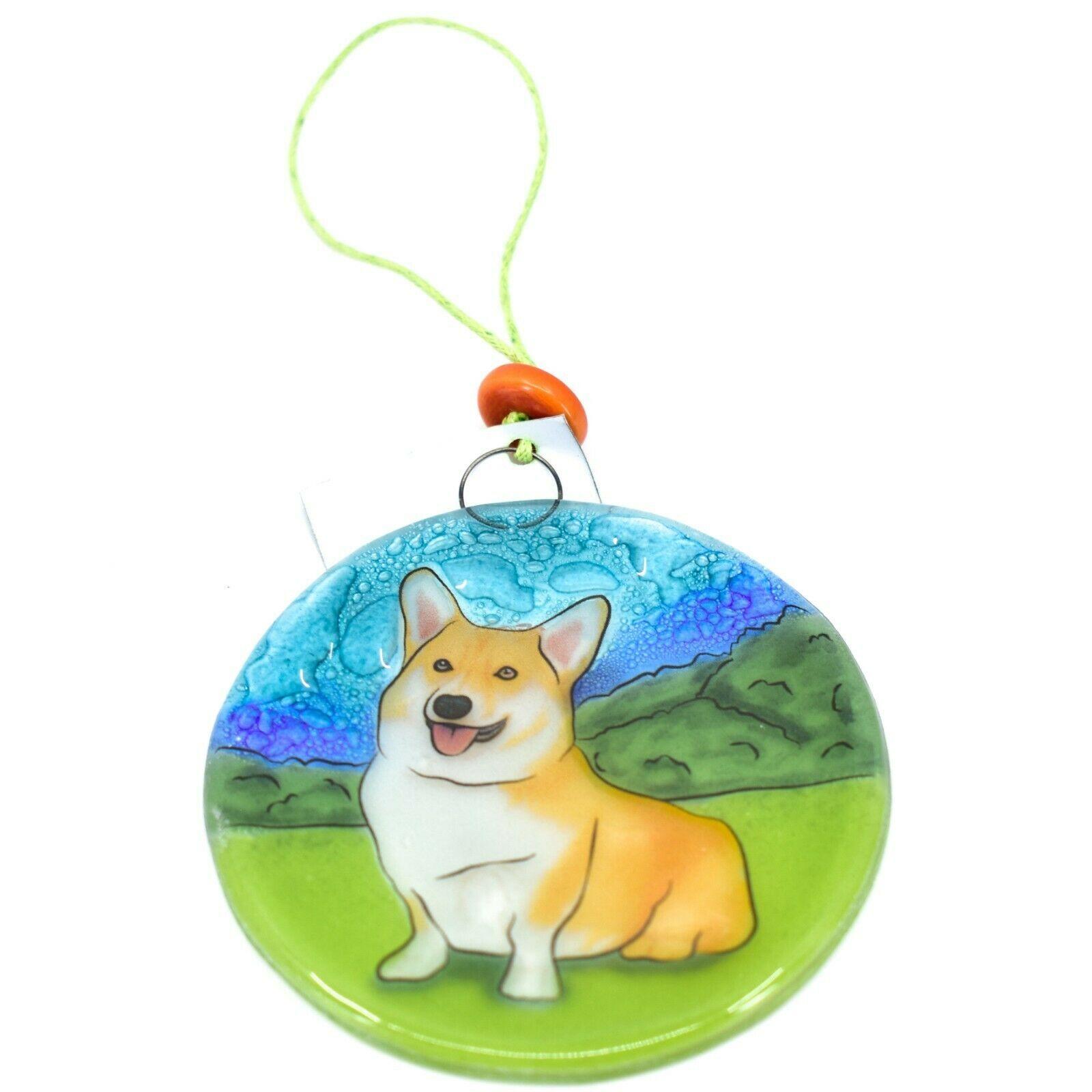 Handmade Fused Art Glass Sitting Smiling Corgi Puppy Ornament Sun Catcher Ecuado