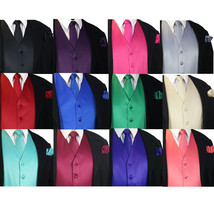 SOLID Men's Dress Vest & Neck Tie Hankie Set For Suit or Tuxedo Formal W... - $16.70+