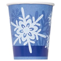 Winter Snowflake 8 Ct Christmas 9 oz Hot Cold Paper Cups Frozen Party - $3.14