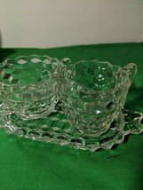 Vintage Fostoria American Clear Glass Cream & Sugar Set With Matching Tray  - $24.74