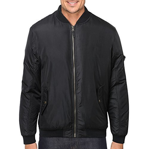 Men's Premium Lightweight Water Resistant Flight Bomber Jacket Black (Medium)