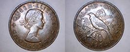 1964 New Zealand 1 Penny World Coin - Tui Bird - $5.49