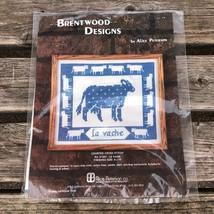 La Vache Blue White Cow Cross Stitch Kit Alice Peterson Farm Animal Embr... - $28.71